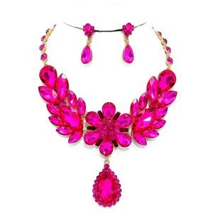 Elegant Fuchsia Pink Rhinestone Crystal Floral Leaf Teardrop Necklace and Earring Set
