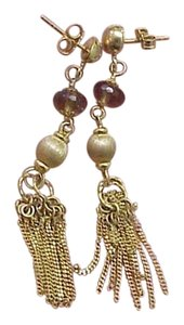 Antique Victorian 14k Yellow gold Earrings w/Tassels & Smoky Quartz, Italy