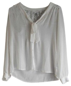 Forever 21 Lace Chiffon Trendy Top White