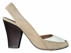 Alberta Ferretti Vintage Tan and White Pumps