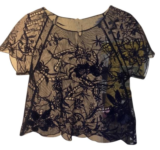 Anthropologie Embroidered Top Navy blue
