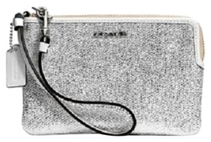 Coach Leather Wristlet in White/Shimmer