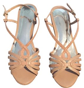 Charles David Wedge Strappy Sandal Nude Biege Sandals