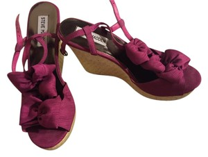 Steve Madden Bows Pink Bright Pink, Fuschia Wedges