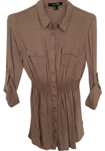Forever 21 Button Down Shirt Tan, brown