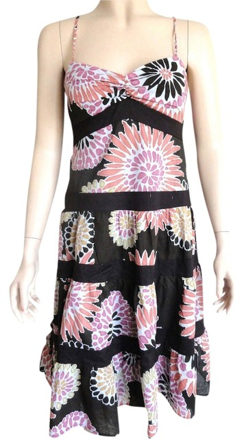 Item - Multicolor Medium Brown Floral Tiered Like Knee Length Cocktail Dress Size 8 (M)