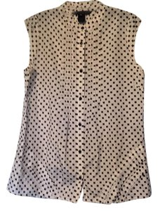 Marc by Marc Jacobs Cotton Silk Print Sleeveless Top Cream and black