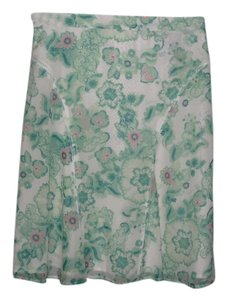 Burberry Is Written Throughout Print. Skirt White with Pink and Green Florals