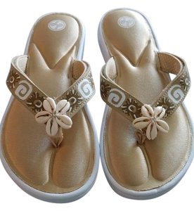 Lindsay Phillips White & Gold Sandals