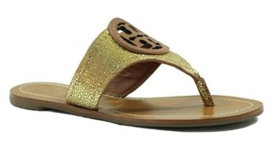 Tory Burch Louisa Metallic Leather Flat Thong Multi-Color Sandals