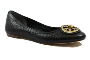 Tory Burch Selma Tumbled Leather Ballet Black Flats