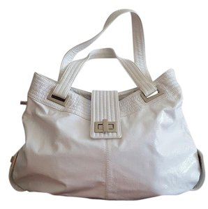 Kooba Tote in White Leather with Silver Hardware