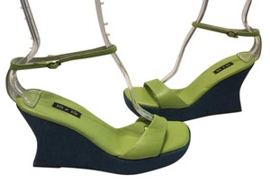 Vis a Vie Green leather and blue denim Wedges