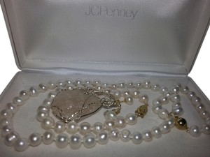 8MM White Akoya Shell Pearl Necklace + Earring and Bracelet Set
