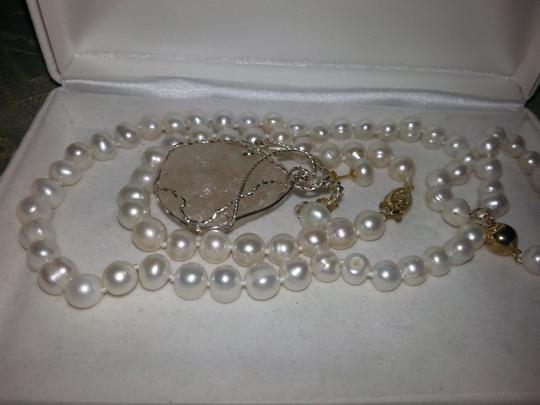 Other 8MM White Akoya Shell Pearl Necklace + Earring and Bracelet Set
