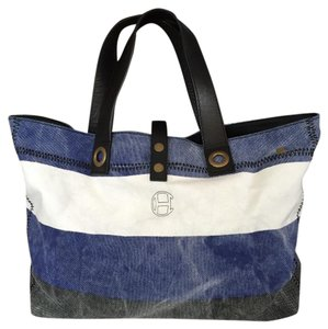 Cole Haan Canvas/leather Tote in Dark Gray/OffWhite