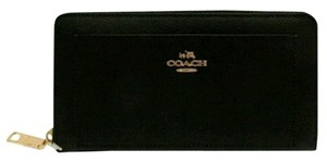 Coach Black accordion zip wallet