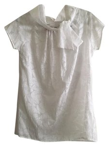 Pookie and Sebastian Neck Tie Imprinted Fabric Top white