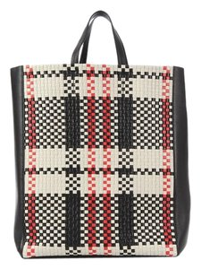 Céline Red Black Ce.k0329.08 White Woven Tote in Multicolor