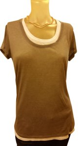 DKNY T Shirt Olive Green and White
