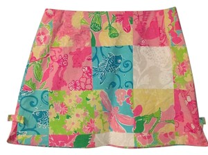 Lilly Pulitzer Mini Skirt Pink, turquoise, yellow