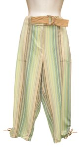 Tommy Bahama Crop Striped Silk Belted Capri/Cropped Pants Multi