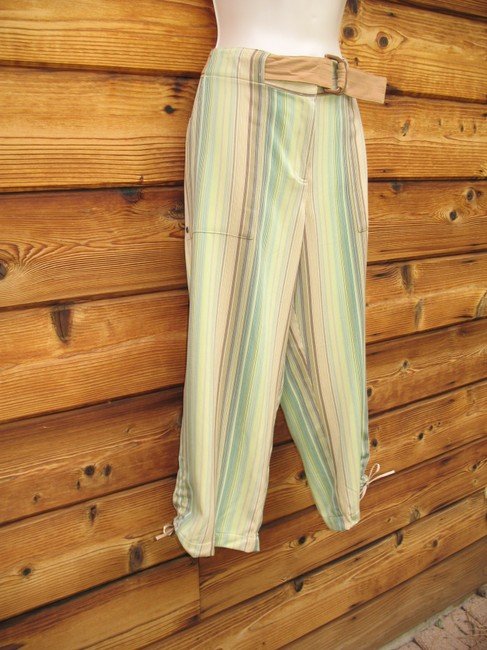 Tommy Bahama Crop Striped Silk Belted Capri/Cropped Pants Multi Image 1