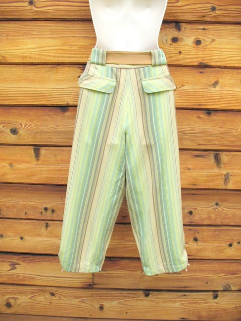 Tommy Bahama Crop Striped Silk Belted Capri/Cropped Pants Multi Image 5