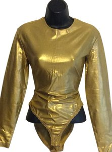 Donna Karan Top Metallic Gold
