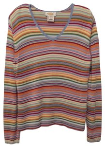 Talbots Lightweight Summer Striped Contrast Sweater