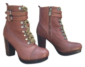 Kenneth Cole Lace Up Buckles Leather Dark Tan / Cognac Boots
