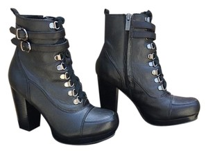 Kenneth Cole Lace Up Buckles Leather Black Boots