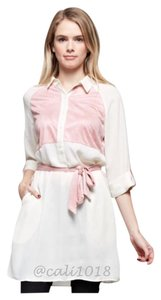 Wear To Work Suede Women Soft Button Down Shirt Ivory & Rose