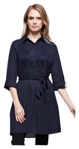 Wear To Work Suede Women Soft Button Down Shirt Navy/Navy