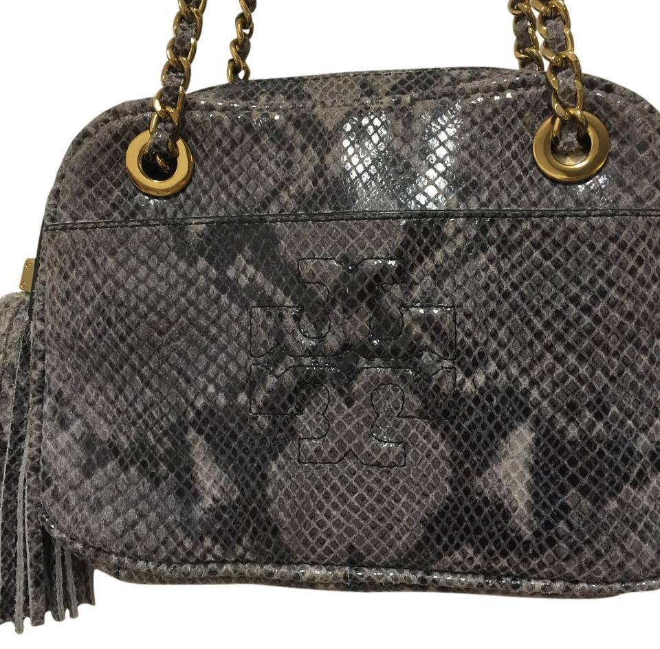 1d689b620e4 Tory Burch Thea With Chain Gray Snake Leather Cross Body Bag - Tradesy