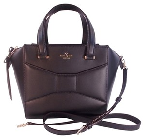 Kate Spade Avenue Leather Bow Classy Cute Satchel in Black