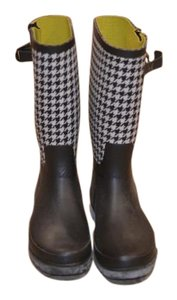 Merona Houndstooth Rubber Rain Black, White Boots