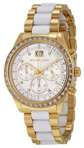 Michael Kors Michael Kors Brinkley Chronograph White Sunray Dial Gold-tone and White Acetate Ladies Watch 40mm MK6189