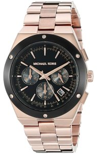 Michael Kors Michael Kors Reagan Black Dial Rose Gold-tone Stainless Steel Ladies Watch 43mm MK6208