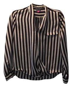 Vince Camuto Top Black, tan, stripes