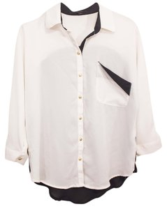Only Mine Cute Chic Trendy Stylish Date Night Affordable Hip Hipster Small Vintage Drapped Drape Asymmetrical Sheer See Through Button Down Shirt Black & White