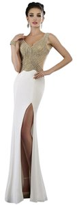 Janique V-neck Beaded Evening Dress