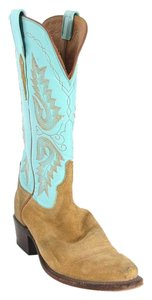 Lucchese Embroidered Leather Suede Turquoise & Brown Boots