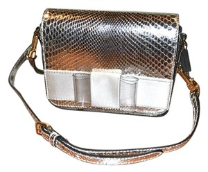 Burberry Berkeley Snakeskin Crossbody Mini Bridal Satchel in Silver