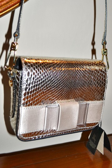 Burberry Berkeley Snakeskin Crossbody Mini Bridal Satchel in Silver Image 4