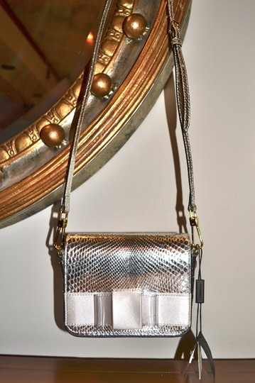 Burberry Berkeley Snakeskin Crossbody Mini Bridal Satchel in Silver Image 8