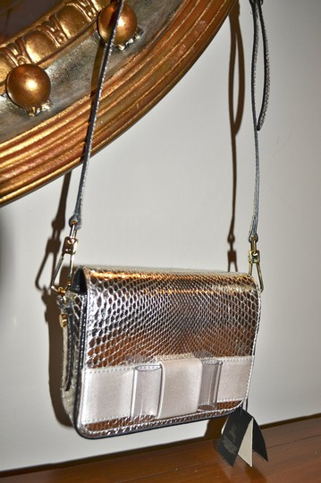 Burberry Berkeley Snakeskin Crossbody Mini Bridal Satchel in Silver Image 9