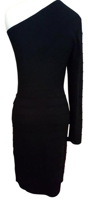 Item - Black Bodycon Knee Length Night Out Dress Size 12 (L)