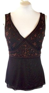 New York & Company Special Occasion Beaded Top Choco Brown