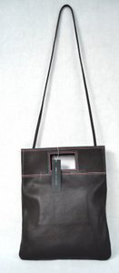 Marc Jacobs Triple Leather Handbag Tote Aubergine Browns Clutch